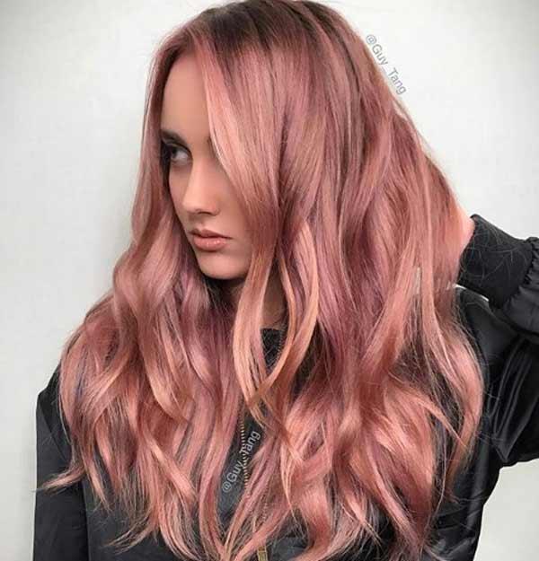 Italy GuyTang теплое розовое золото, модный оттенок и техника окрашивания волос, пример