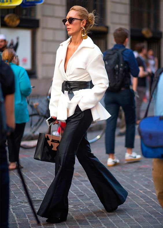 Белая блуза + брюки клеш Office Looks