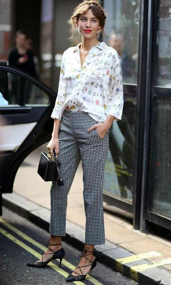 Блуза + брюки принт клетка