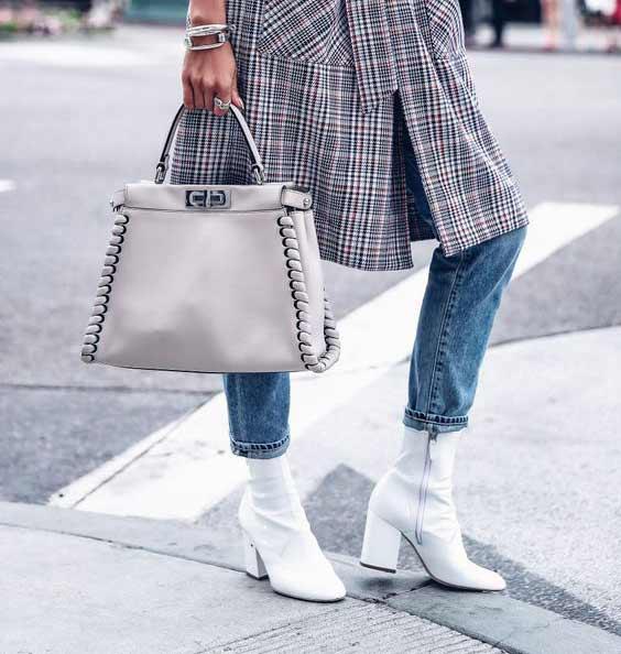 Клетчатое платье + джинсы