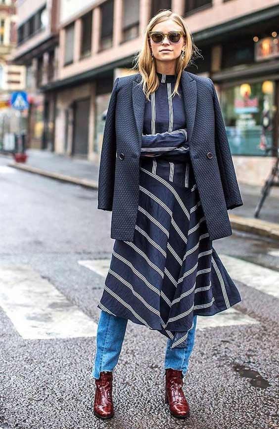 Платье миди + джинсы