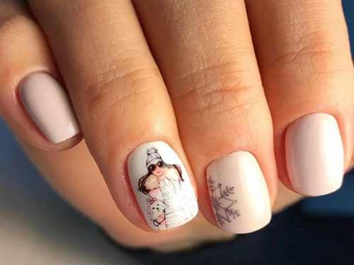 Снегурочка на одном ногте