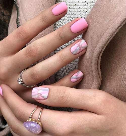 Светло-розовый нюд дизайн ногтй
