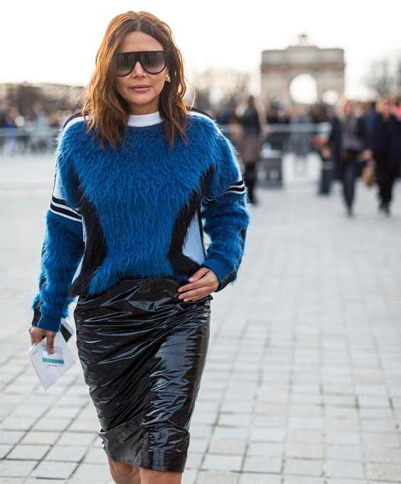Кожаная юбка Paris Fashion Week Street Style Fall 2017