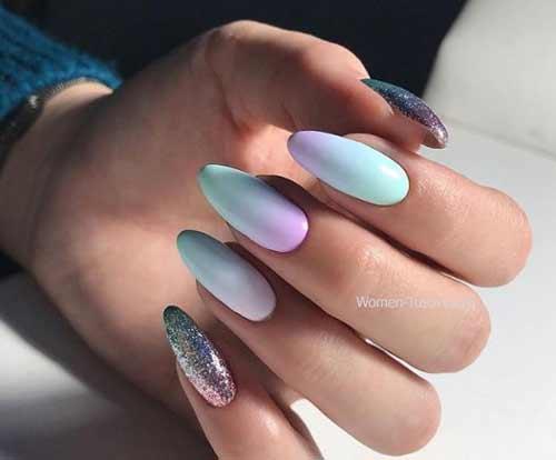 Пастельное омбре на ногтях 2018