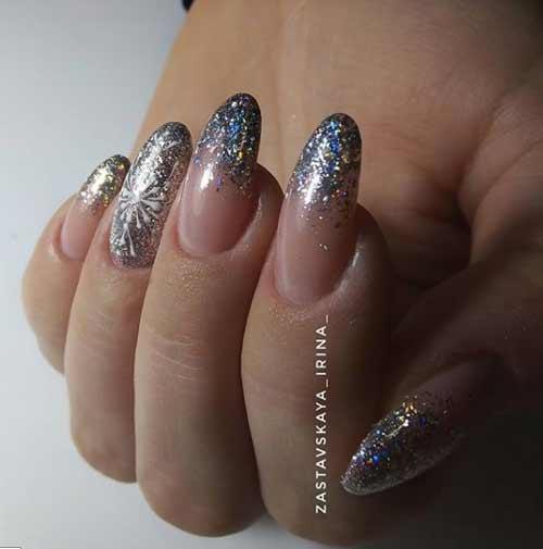 Снежинки блестками на ногтях