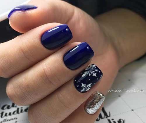 Синий лак-гель + снежинка
