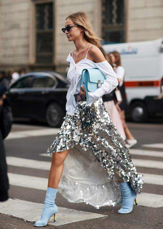 Серебристые пайетки - нарядная юбка