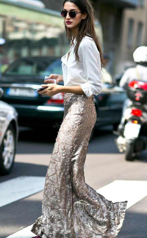 Белая блуза _ юбка с пайетками