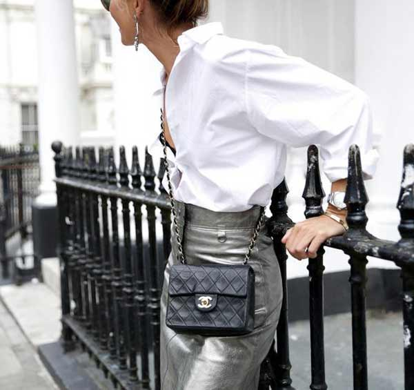 Цвет юбки серебряный мода 2018