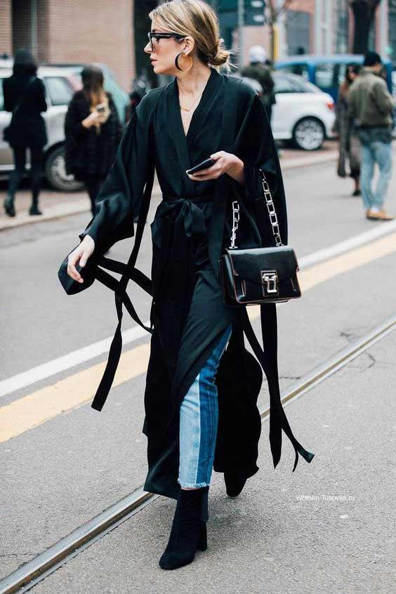 Платье-халат с джинсами образ 2018