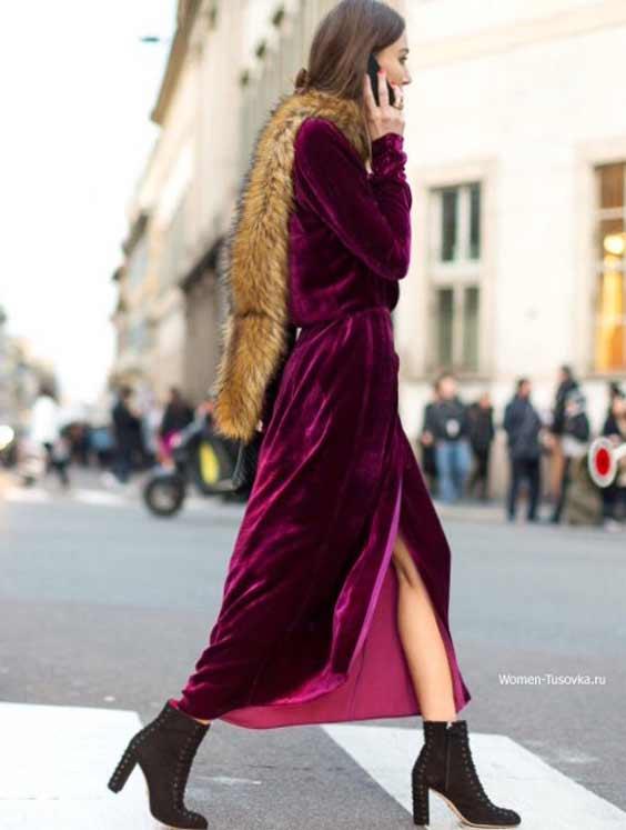 Платье-халат из бархата