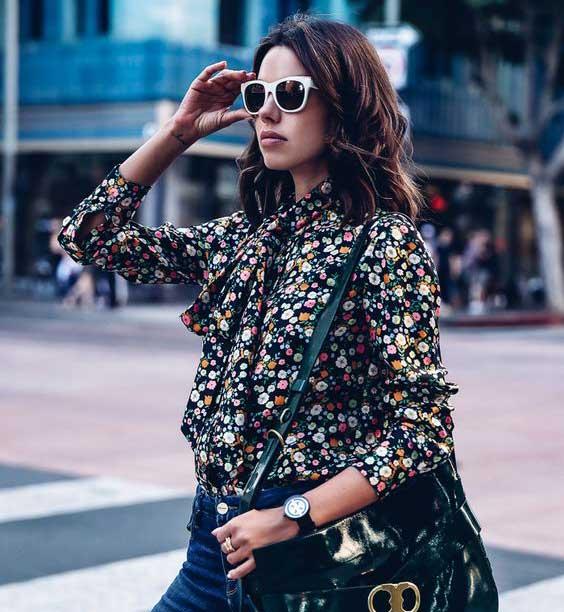 Рубашка модная в цветочек