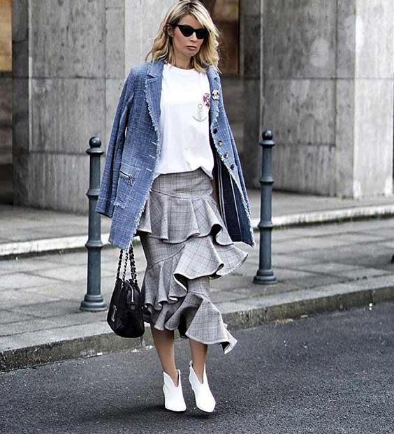 Модные юбки - многоярусная луки