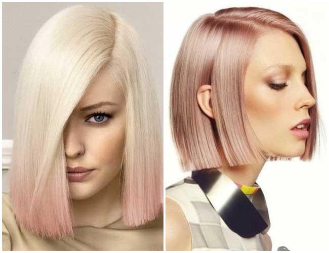 Розовый блонд модный оттенок волос