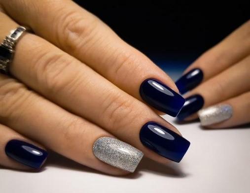 Синий + серый маникюр