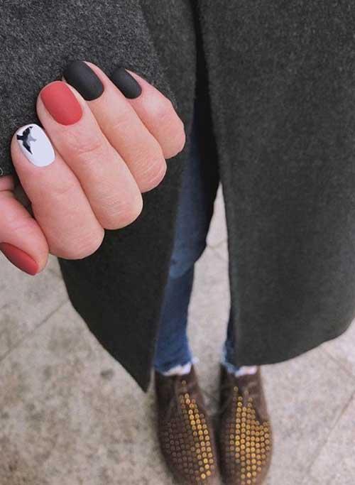 Трехцветный маникюр короткие ногти
