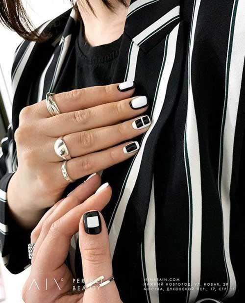 Черно-белый маникюр короткие ногти