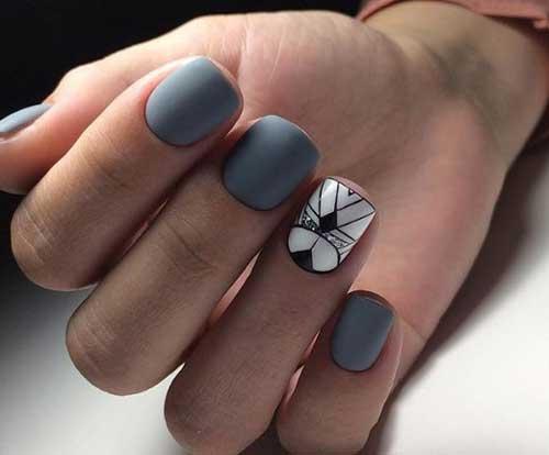 Серый цвет на коротких ногтях