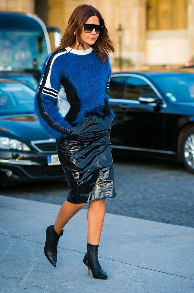 Лакированная кожа юбка карандаш и свитер