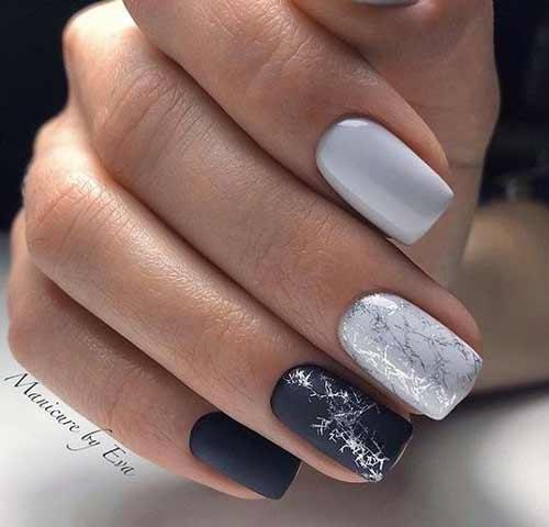 Серый с черным на короткие ногти
