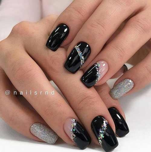 Серый с черным дизайн ногтей