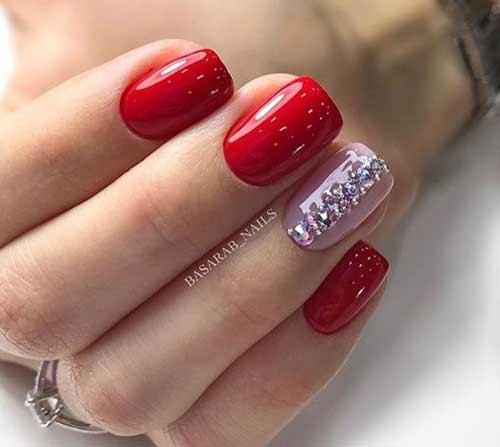 Красный + розовый сочетание на ногтях
