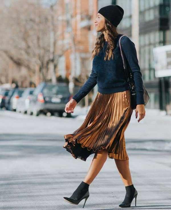 Блестящая юбка тренд