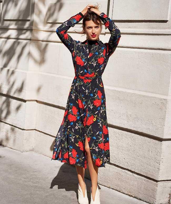 Жанна в платье миди в цветочек