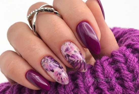 Фиолетовый весенний маникюр