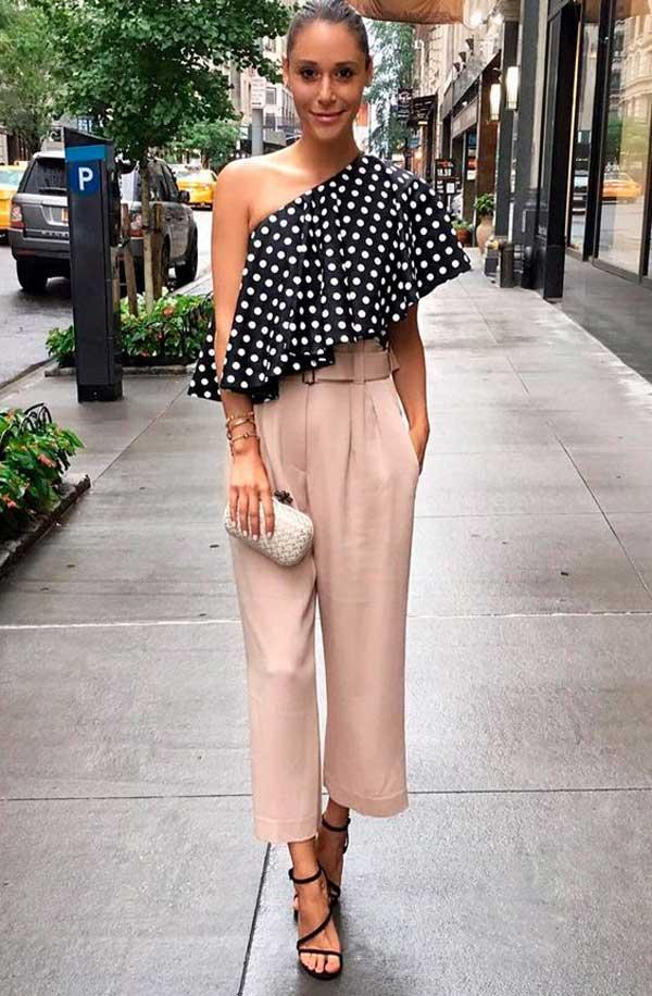 Легкая летняя блузка в горох 2018