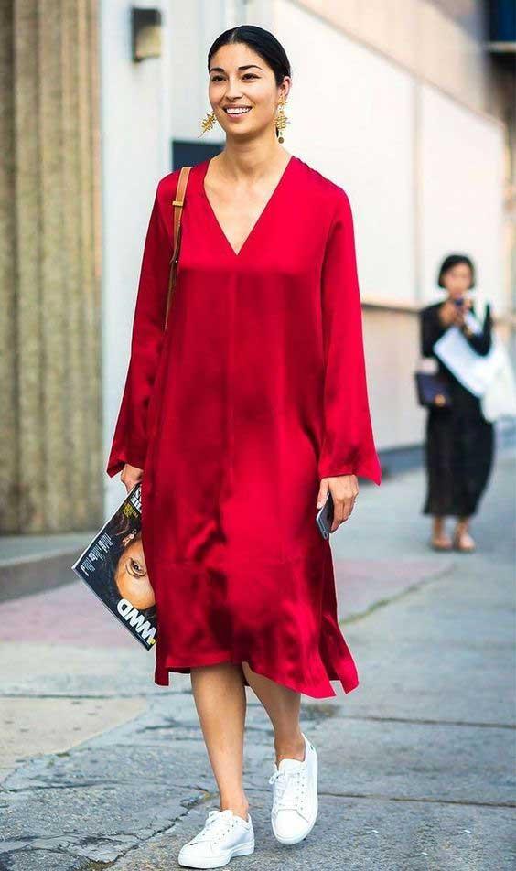 Ярко-красное модное платье