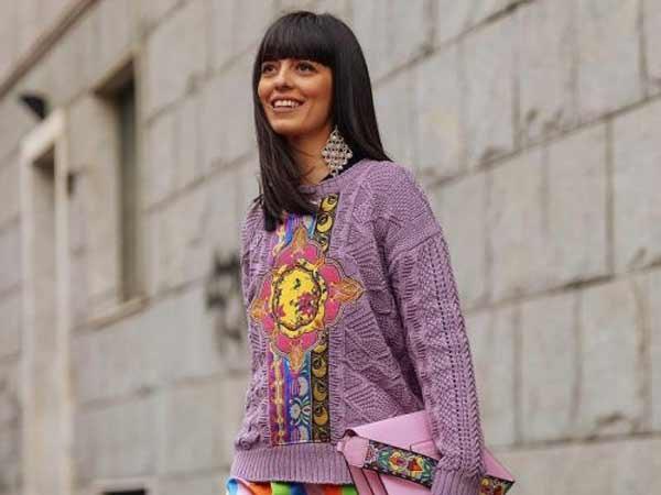 Модные свитеры-2018 на весну оттенок фиолетового