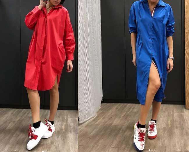 Платья, которые лучше носить со спортивной обувью, фото платья рубашки
