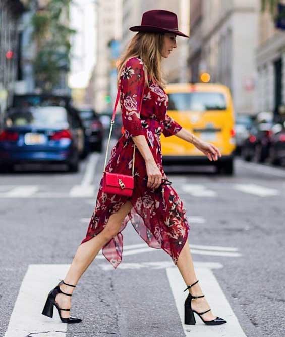 Платье принт цветочек со шляпой в тон