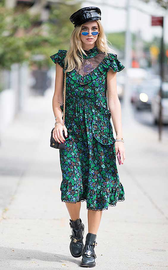 С чем комплектовать платье в цветочек