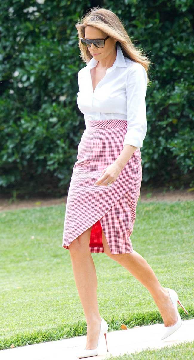 Классическая белая рубашка и юбка