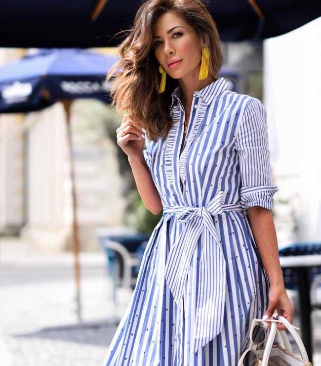 Платье-рубашка  принт полоска