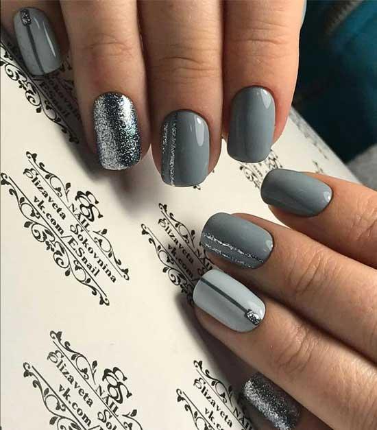 Серый + серебристые блестки