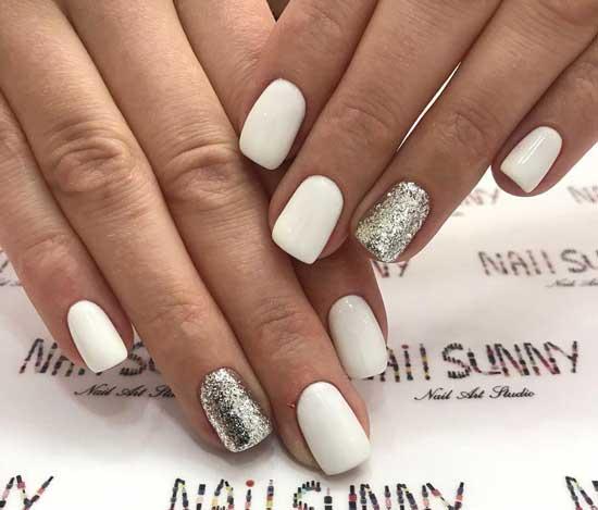 Белый и блестки серебро