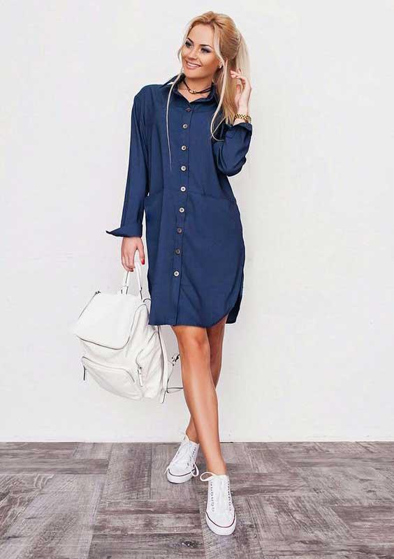 Синяя платье-рубашка