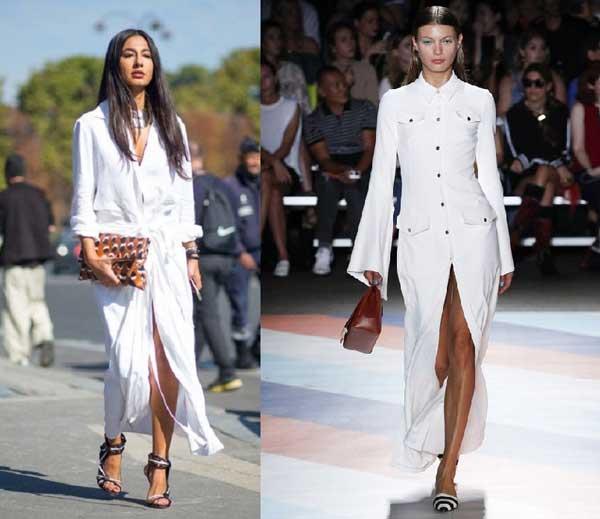 Белые платья-рубашки макси