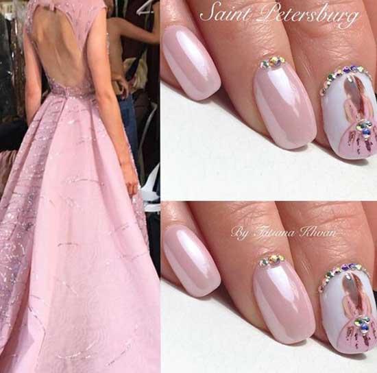 Розовый жемчужный с рисунками