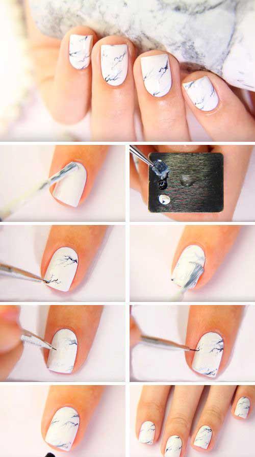 Как создать эффект мрамора на ногтях