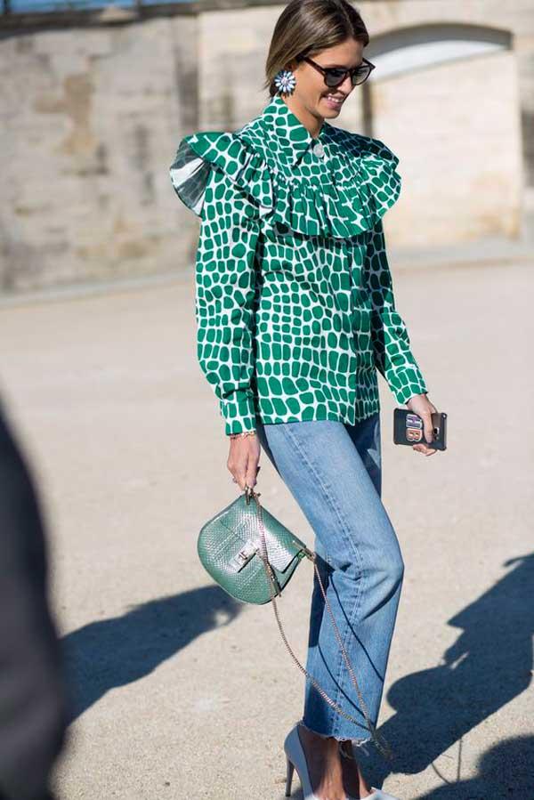 Яркая блузка и спокойный низ - стильный образ