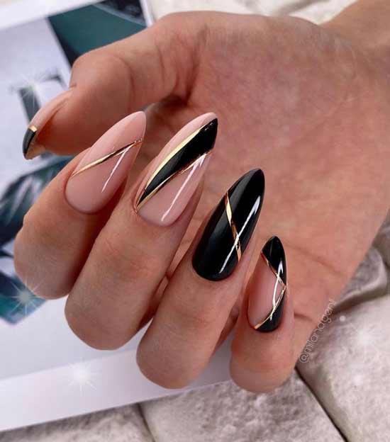 Геометрия черно-бежевая на ногтях