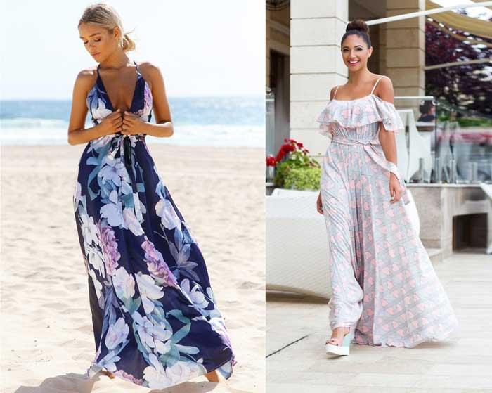 Летние платья в пол в стиле бохо для отпуска