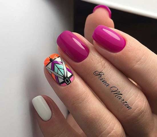 Красочная геометрия на ногтях