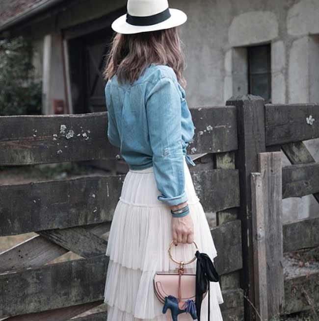 Юбка с джинсовой рубашкой