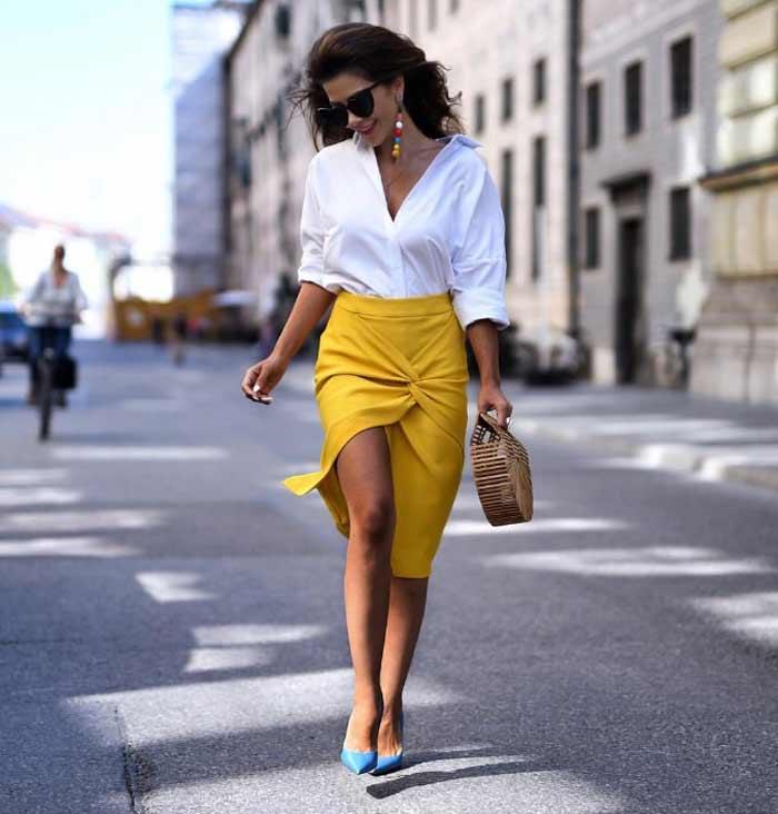 Желтую юбку миди с чем носить